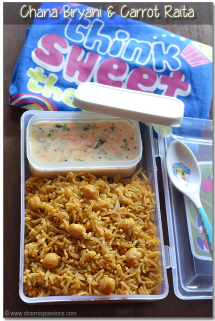 Kids Lunch Box Recipe Idea6 – Chana Biryani & Carrot Raita