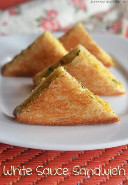 White Sauce Vegetable Bread Sandwich Recipe