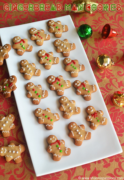 Gingerbread Men Cookies Recipe – Eggless Christmas Cookie with Royal Icing