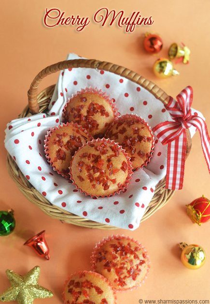 Glace Cherry Muffins Recipe | Eggless Christmas Recipes