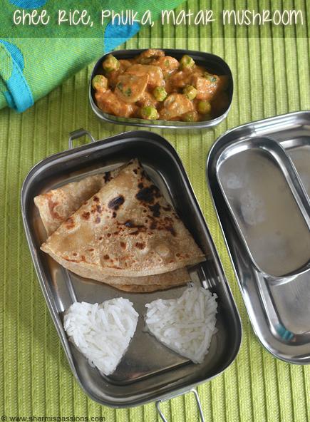 Ghee Rice, Phulka, Matar Mushroom – Kids Lunchbox Idea 37