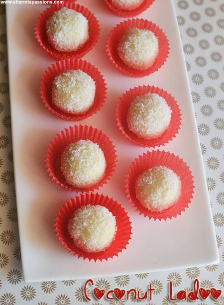 Coconut Ladoo Recipe, Coconut Laddu with condensed milk