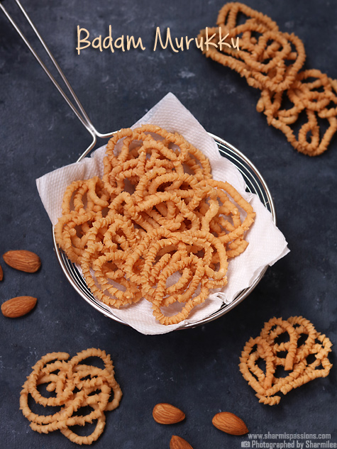Badam murukku recipe-Almond murukku recipe