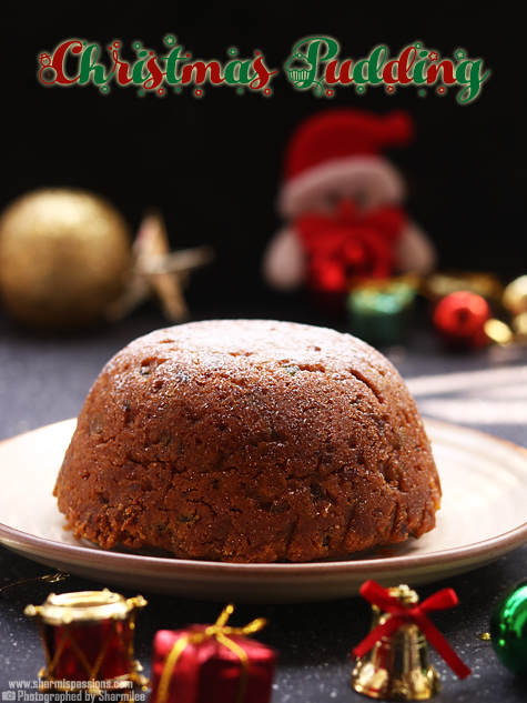 Eggless steamed christmas pudding recipe, Easy christmas pudding recipe