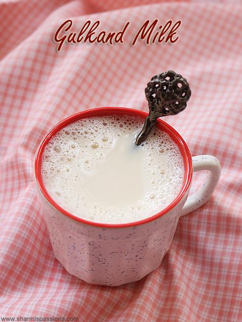 Gulkand milk recipe, Rose petal jam milk recipe