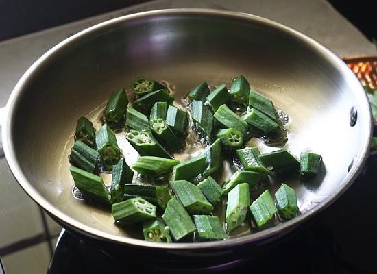 Aloo Bhindi Pulao fry bhindi